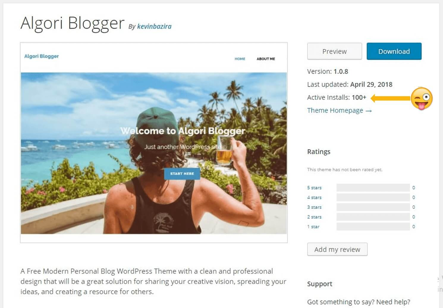 Algori Blogger Page Live in WP Theme Directory