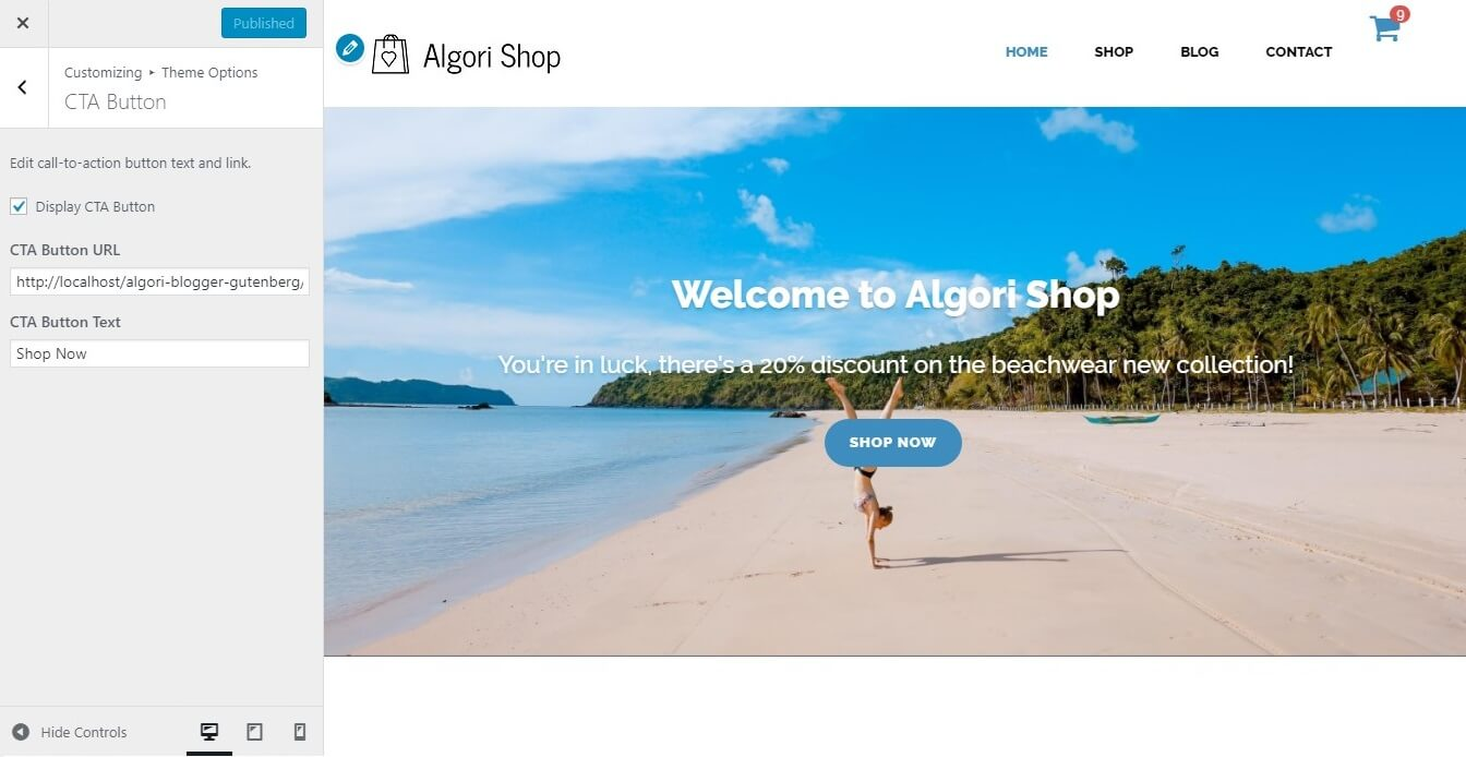 Editing the Front Page Header Image Call-To-Action Button Settings of Algori Shop Multi-Purpose WooCommerce WordPress Theme
