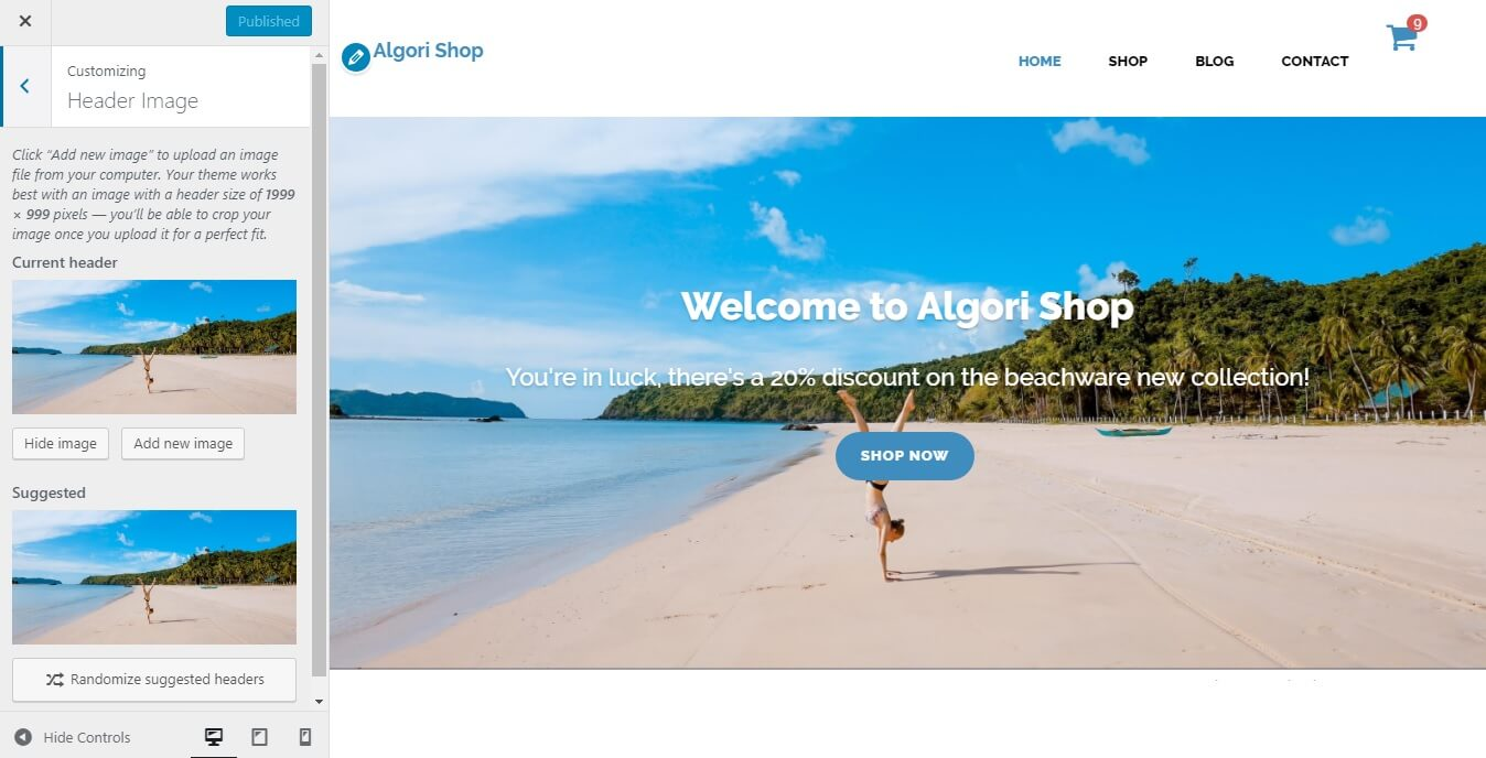 Editing the front-page Header Image of Algori Shop Multi-Purpose WooCommerce WordPress Theme