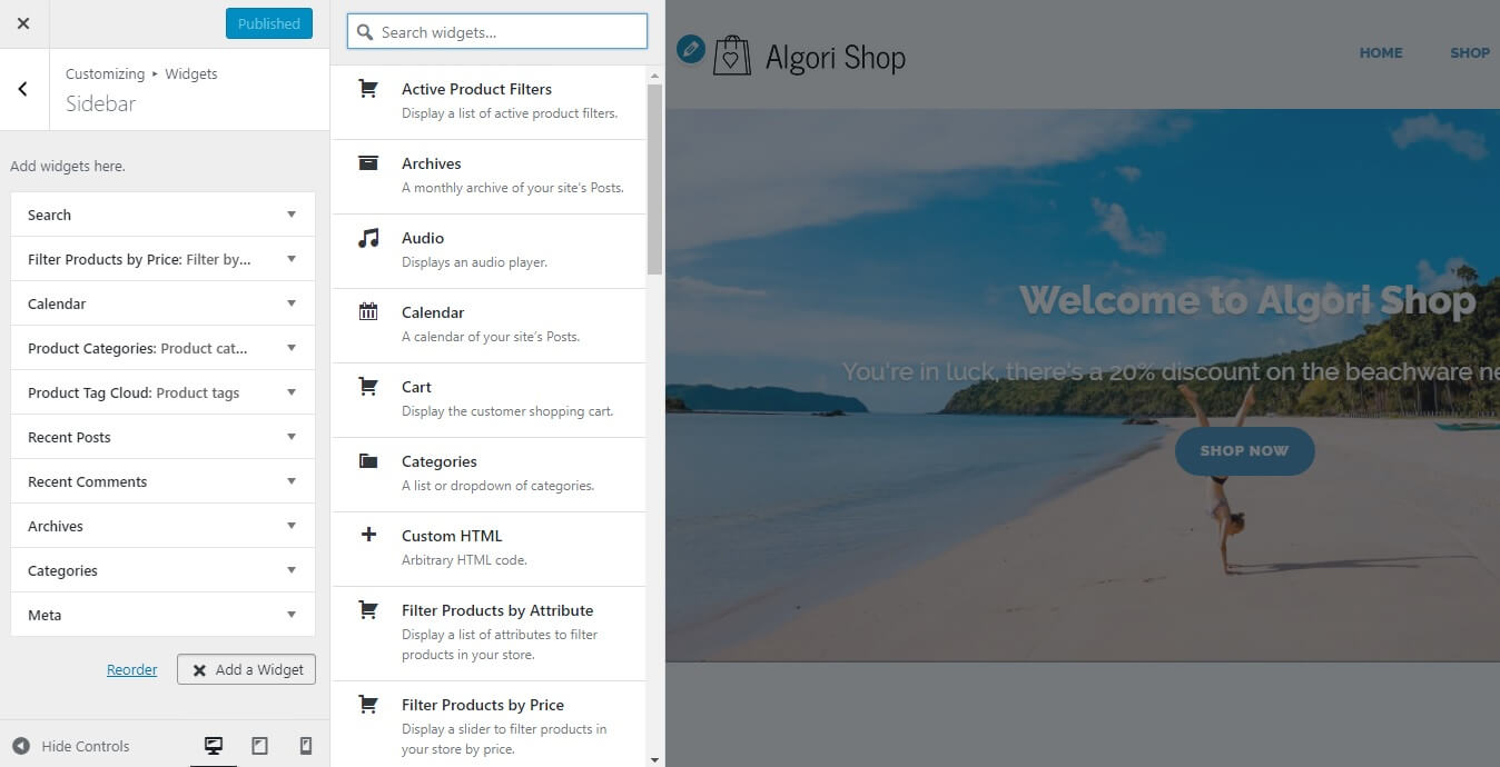 Editing the Sidebar Widgets of Algori Shop Multi-Purpose WooCommerce WordPress Theme