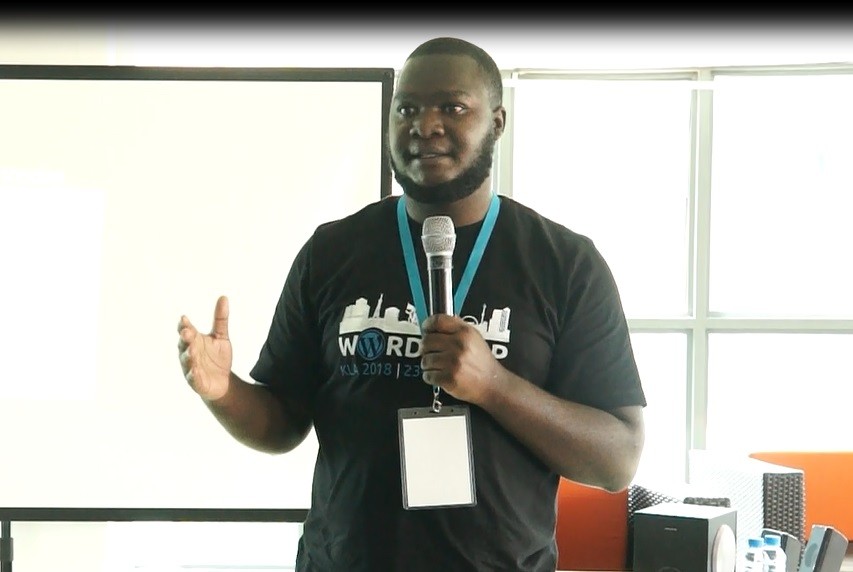 Kevin Bazira - Speaking at WordCamp Kampala 2018 - WordPress Gutenberg