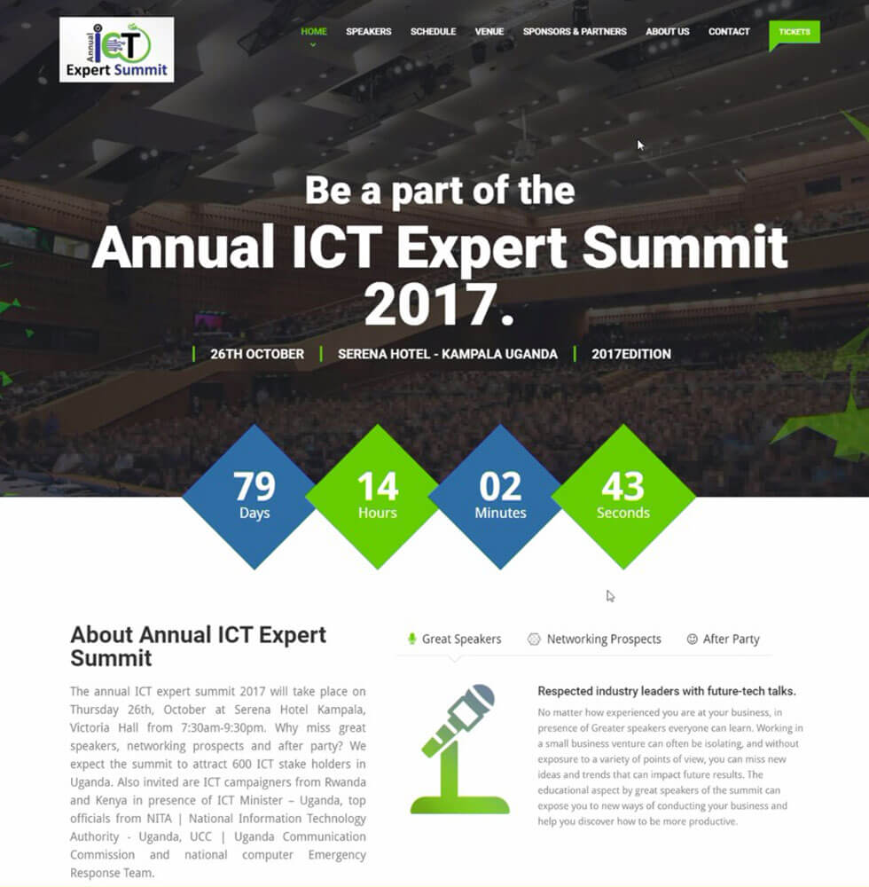 Annual ICT Expert Summit Website