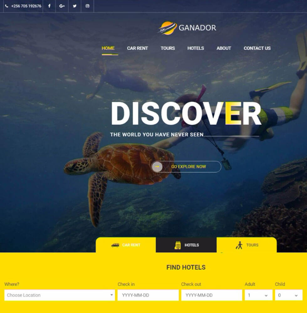 Ganador Tours and Travel Website