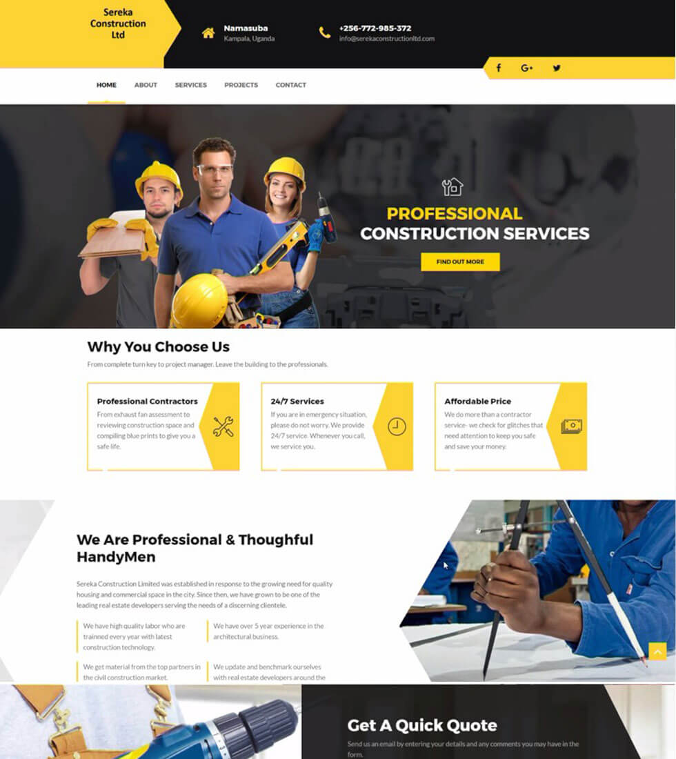 Sereka Construction Company Website